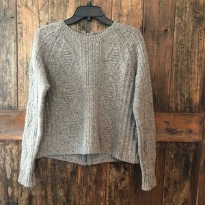 Madewell, S, Grey Cable Knit Zipper Sweater